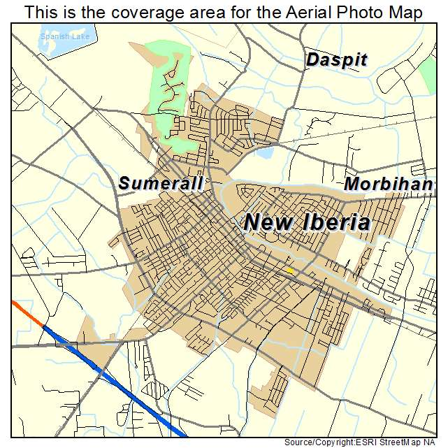 Aerial Photography Map of New Iberia LA Louisiana