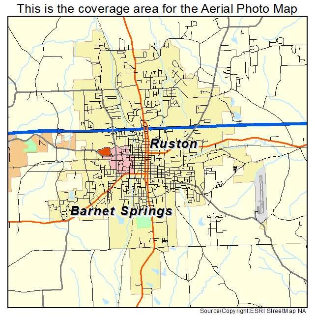 Aerial Photography Map Of Ruston LA Louisiana