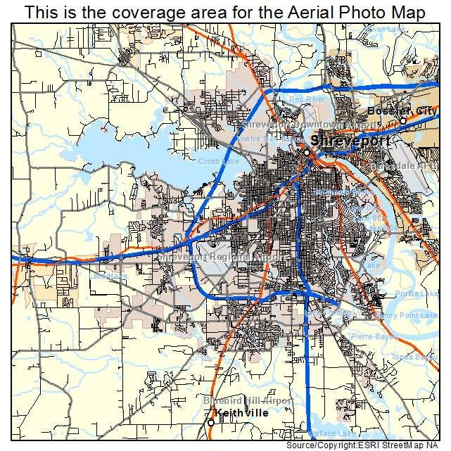 Aerial Photography Map of Shreveport LA Louisiana