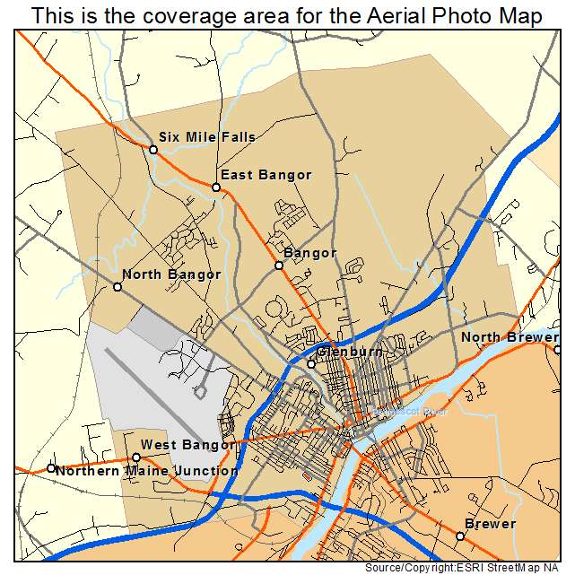 Aerial Photography Map Of Bangor ME Maine