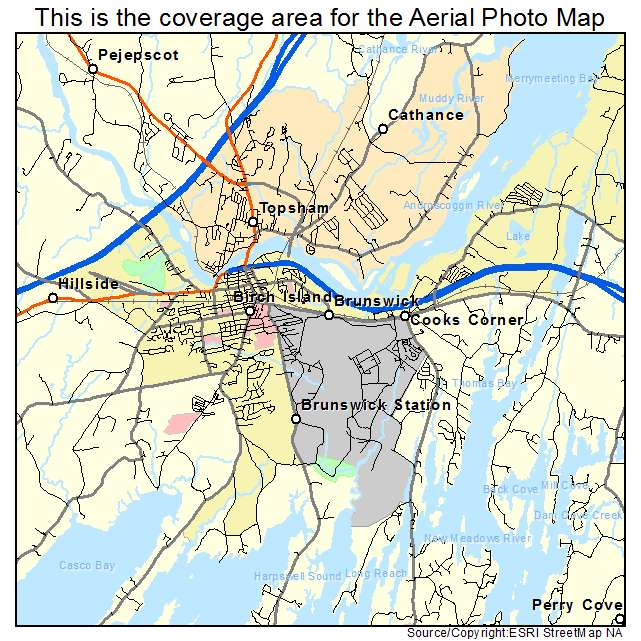 Aerial Photography Map Of Brunswick ME Maine