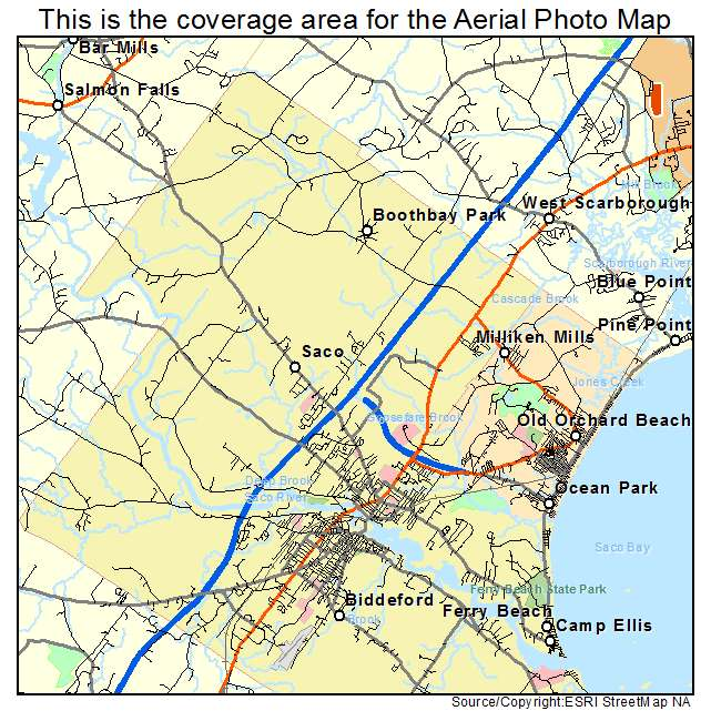 Aerial Photography Map of Saco ME Maine