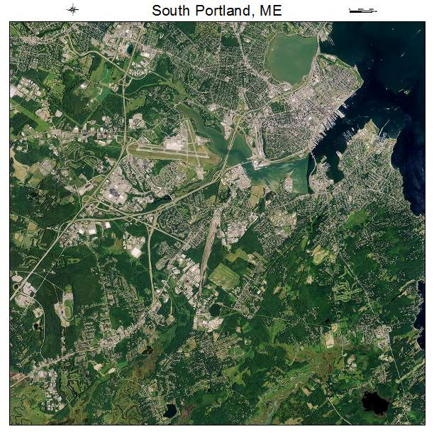 Aerial Photography Map of South Portland ME Maine