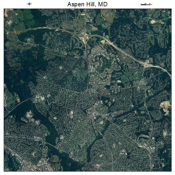 Aerial Photography Map of Aspen Hill MD Maryland