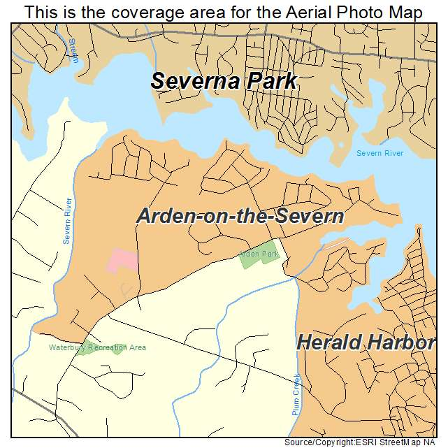 Aerial Photography Map of Arden on the Severn, MD Maryland on