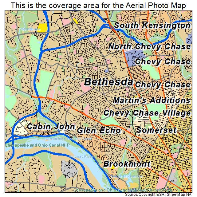Aerial Photography Map Of Bethesda MD Maryland