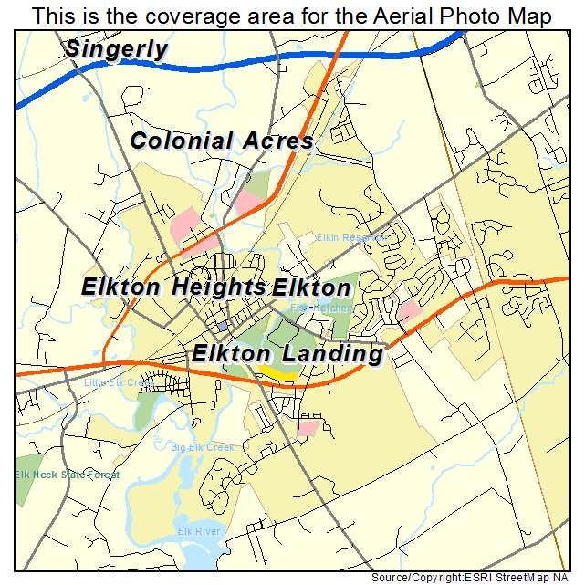 Aerial Photography Map Of Elkton MD Maryland