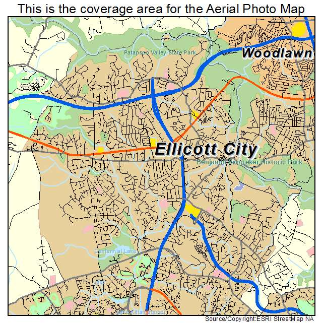 Aerial Photography Map of Ellicott City, MD Maryland on