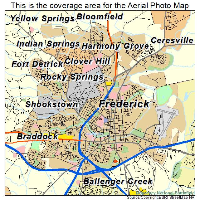 Aerial Photography Map Of Frederick MD Maryland