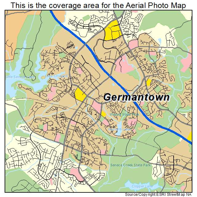 Aerial Photography Map of Germantown MD Maryland