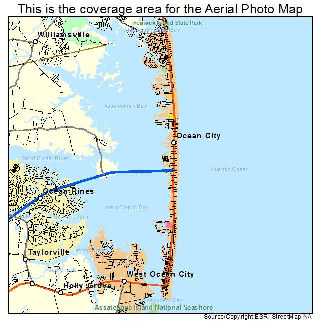 Aerial Photography Map Of Ocean City MD Maryland - Ocean city md map