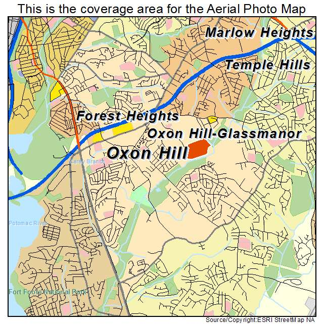 Aerial Photography Map of Oxon Hill Glassmanor MD Maryland
