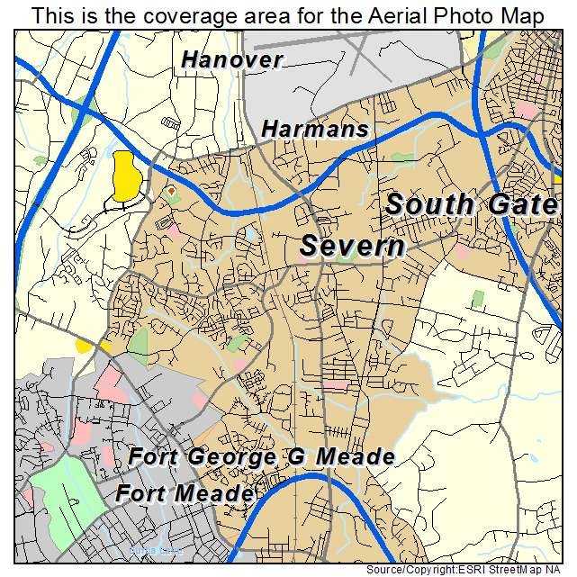 Aerial Photography Map of Severn, MD Maryland on