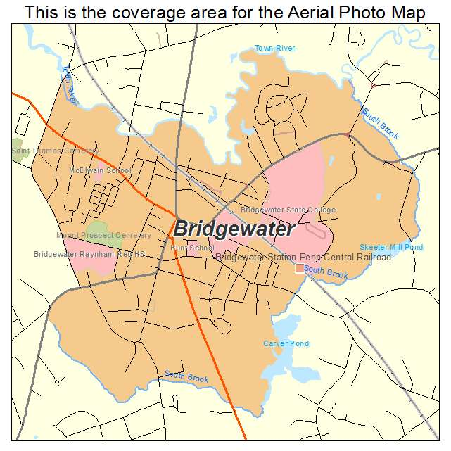 Aerial Photography Map of Bridgewater, MA Massachusetts