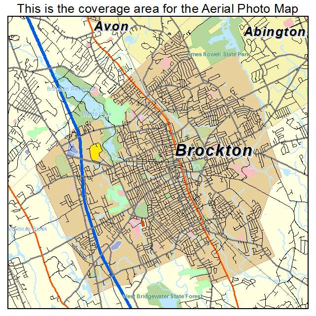 graphic about Printable Map of Massachusetts identified as Brockton, MA Machusetts Aerial Images Map 2014
