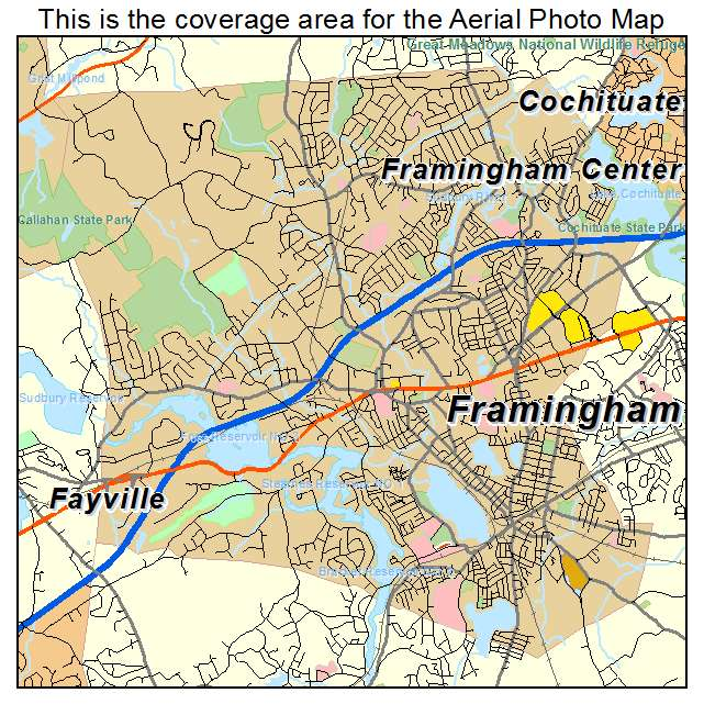 Aerial Photography Map of Framingham MA Massachusetts