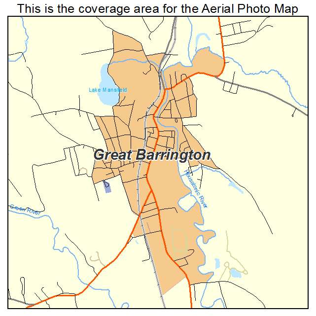 Aerial Photography Map of Great Barrington MA Massachusetts