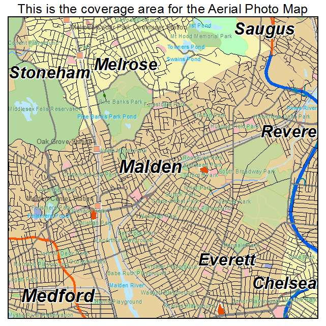 Aerial Photography Map of Malden MA Massachusetts