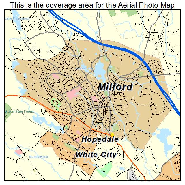 Aerial Photography Map of Milford MA Massachusetts