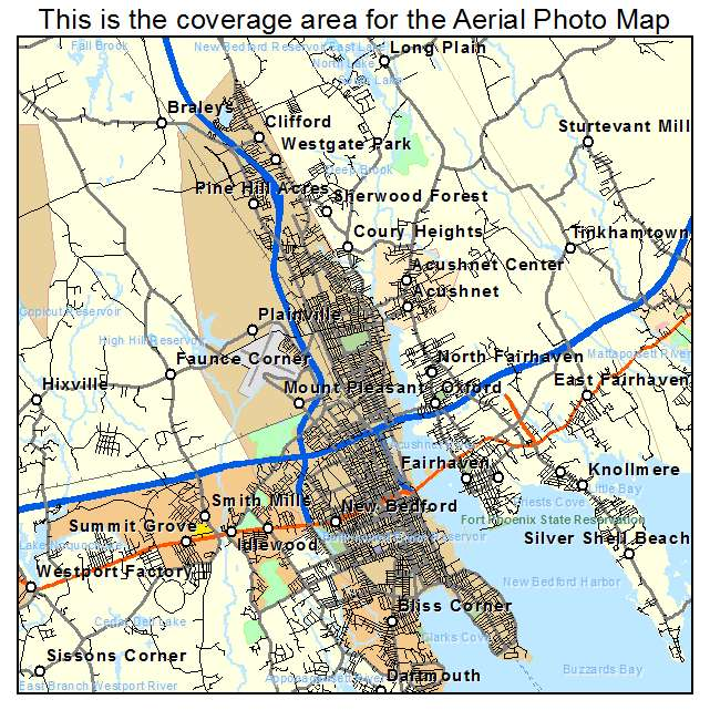 Aerial Photography Map of New Bedford MA Massachusetts