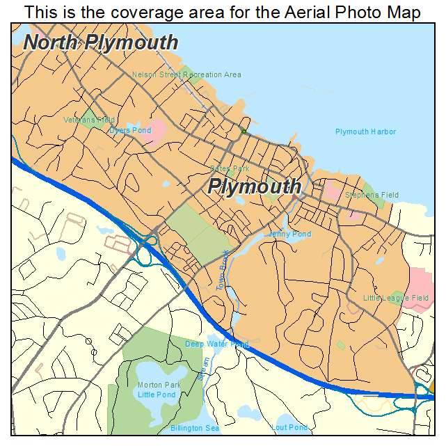 Aerial Photography Map of Plymouth MA Massachusetts