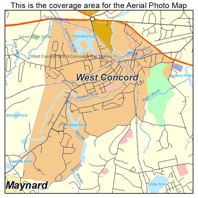 Aerial Photography Map Of West Concord MA Massachusetts
