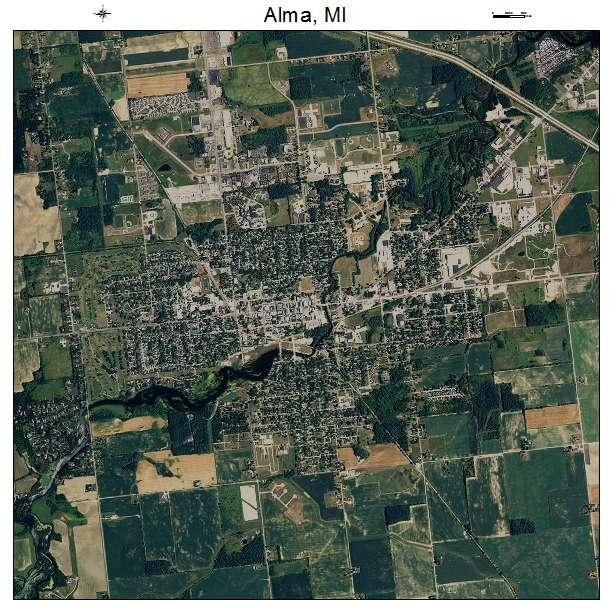 Alma, MI Michigan Aerial Photography Map