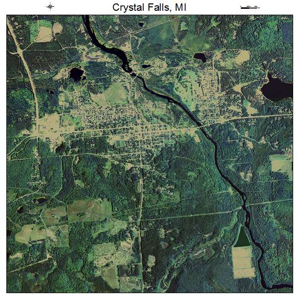 Aerial photography map of crystal falls mi michigan Crystal falls