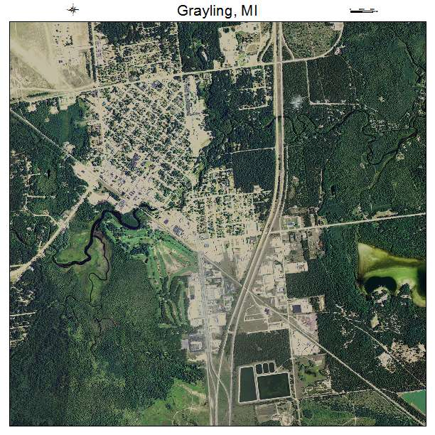Grayling, MI air photo map