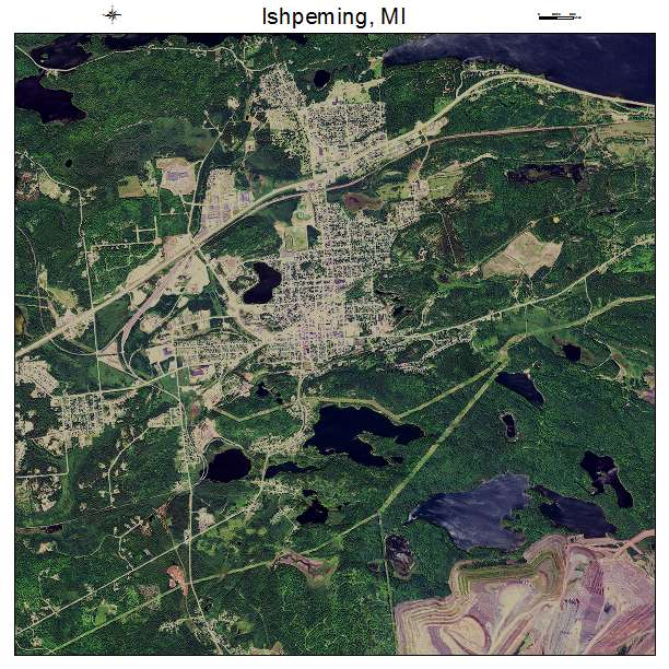 Ishpeming, MI air photo map