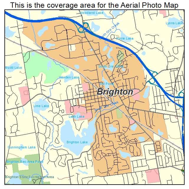 Aerial Photography Map of Brighton MI Michigan
