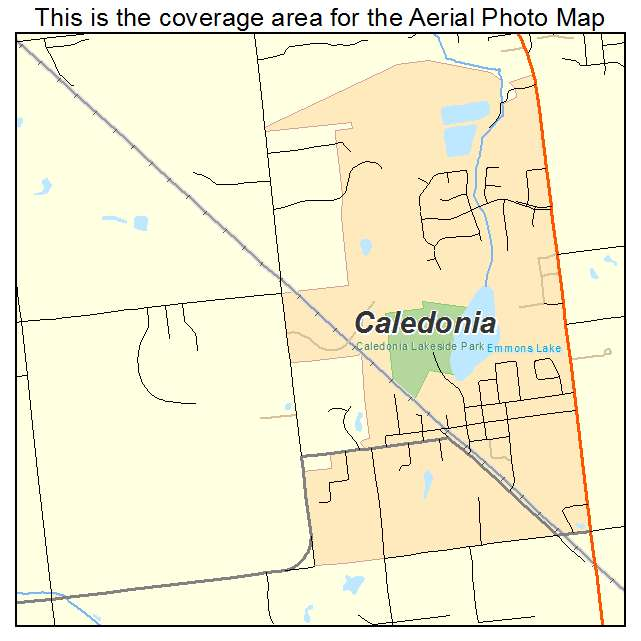 Aerial Photography Map of Caledonia, MI Michigan on