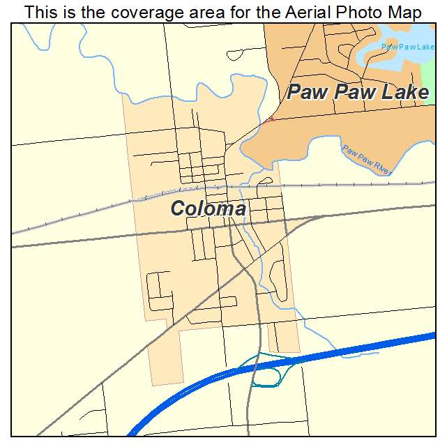 Aerial Photography Map of Coloma MI Michigan