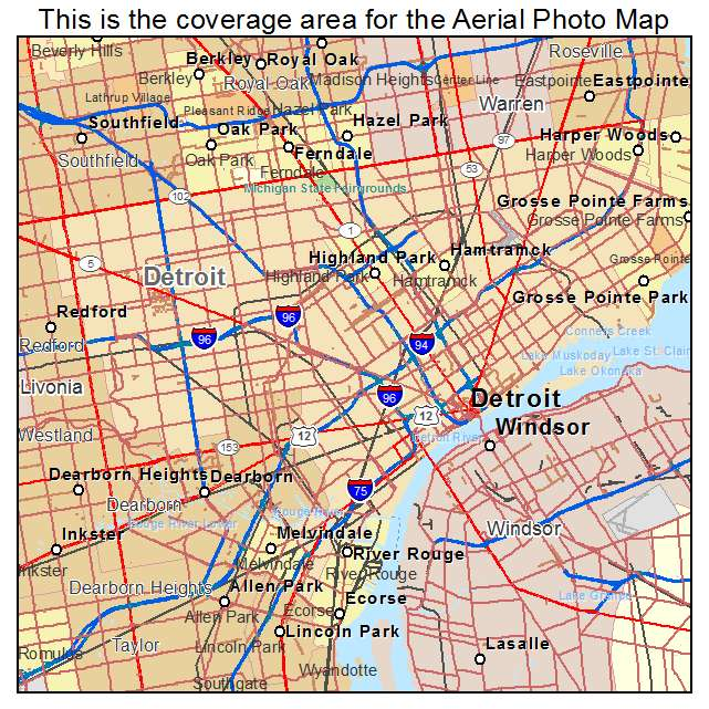 Aerial Photography Map Of Detroit Mi Michigan