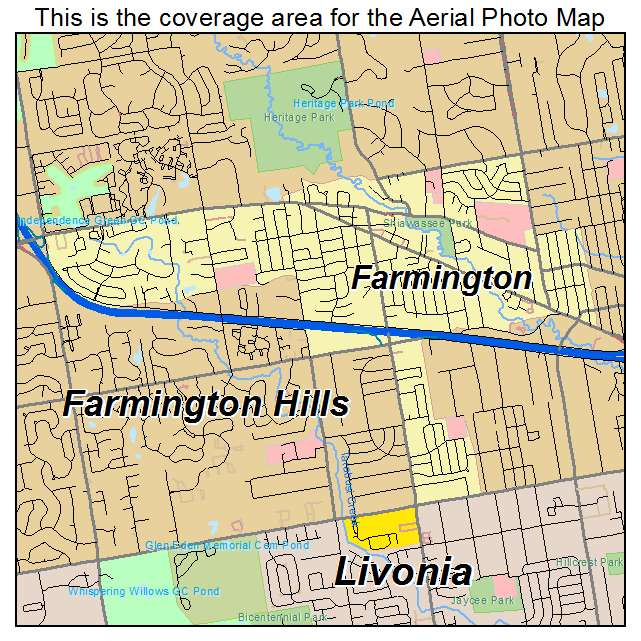 Aerial Photography Map of Farmington MI Michigan
