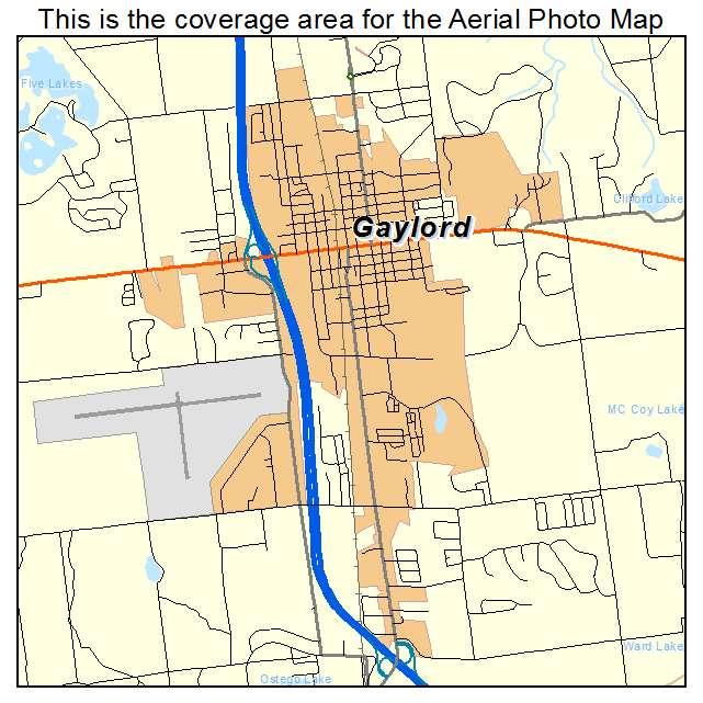Gaylord, MI Michigan Aerial Photography Map