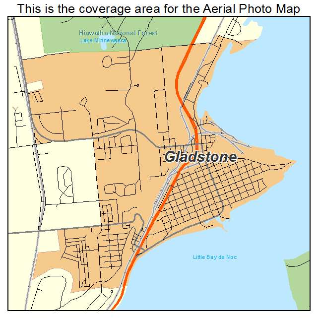 Gladstone, MI Michigan Aerial Photography Map