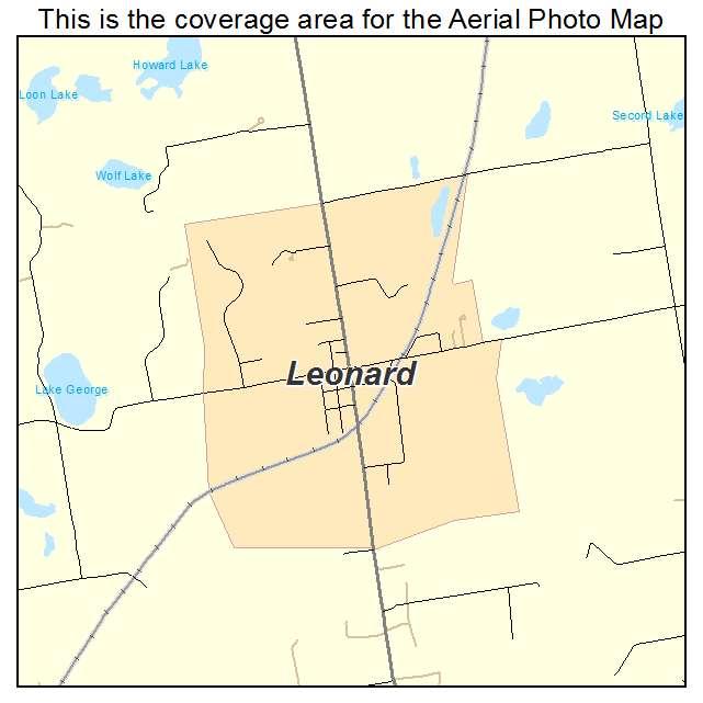 Leonard Michigan Map.Aerial Photography Map Of Leonard Mi Michigan