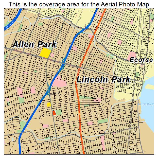 Aerial Photography Map Of Lincoln Park MI Michigan