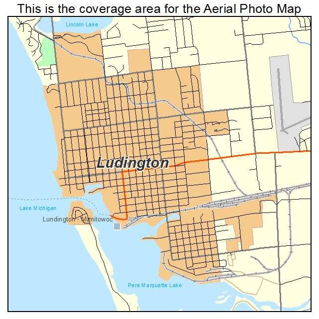 Aerial Photography Map Of Ludington MI Michigan