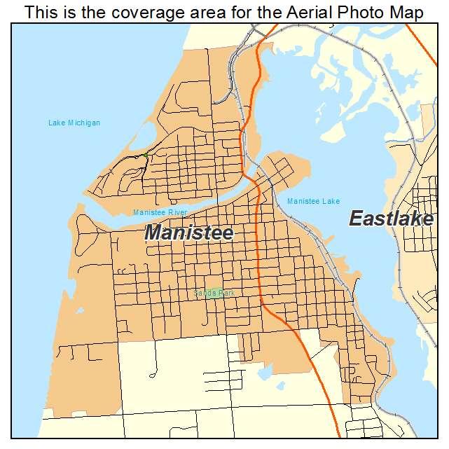 Aerial Photography Map of Manistee MI Michigan