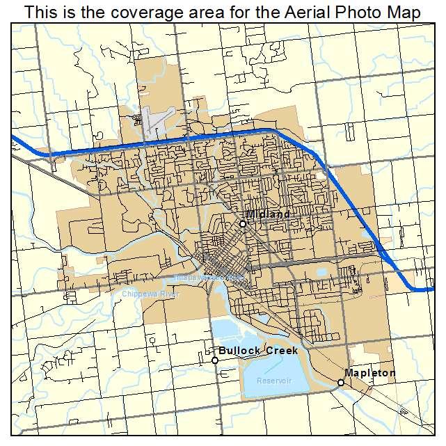 Aerial Photography Map Of Midland Mi Michigan
