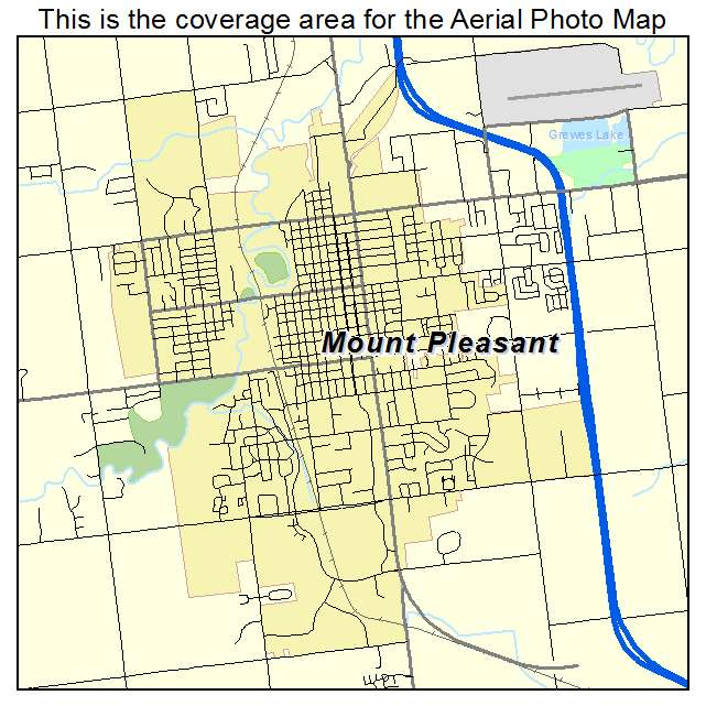 Aerial Photography Map of Mount Pleasant MI Michigan