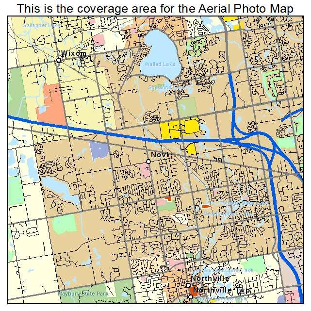 Aerial Photography Map of Novi MI Michigan
