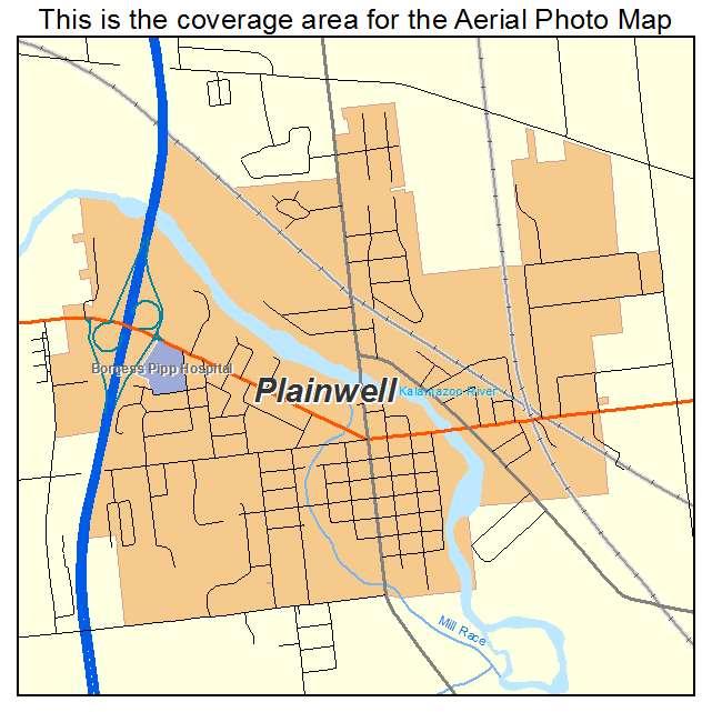 Plainwell Michigan Map.Aerial Photography Map Of Plainwell Mi Michigan