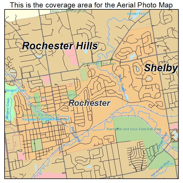 Aerial Photography Map Of Rochester Mi Michigan