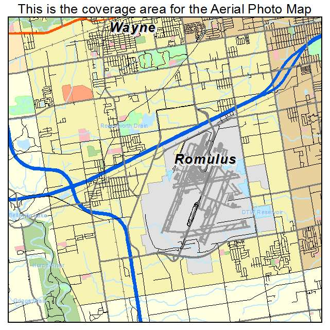 Map of the City of Romulus Michigan