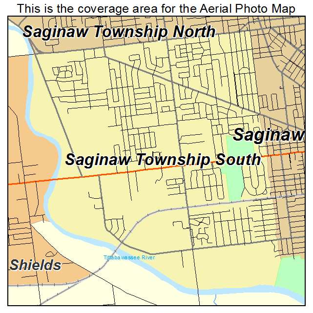 Aerial Photography Map Of Saginaw Township South MI Michigan