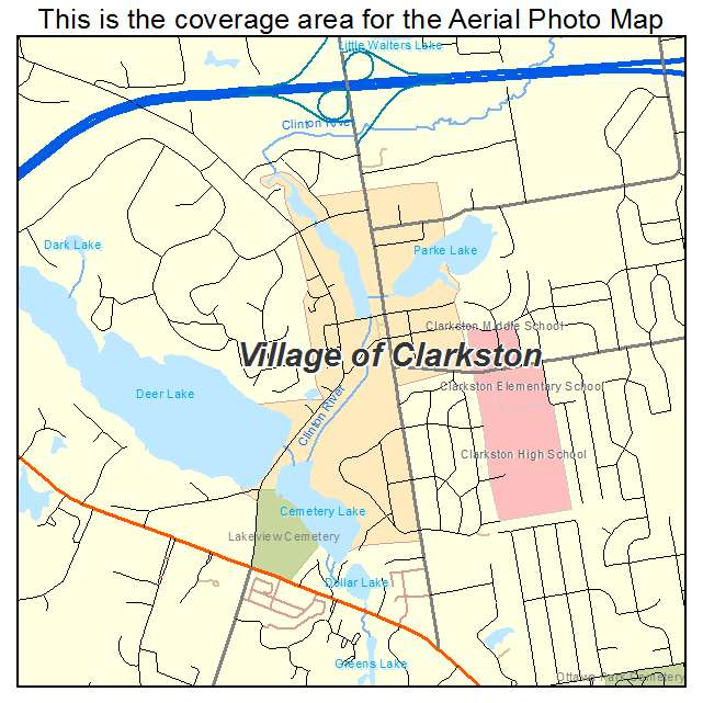 Aerial Photography Map of Village of Clarkston, MI Michigan