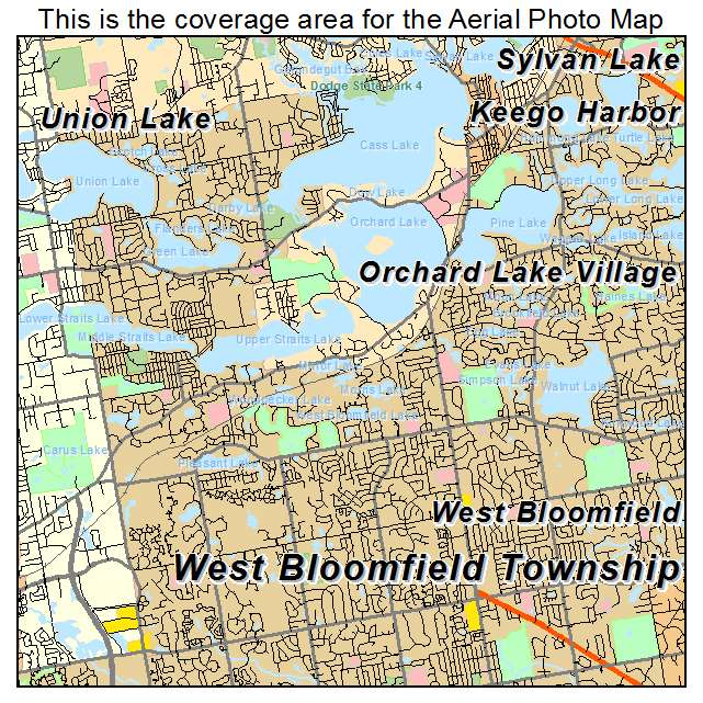 Bloomfield Michigan Map.Aerial Photography Map Of West Bloomfield Township Mi Michigan